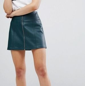 Bershka Green Leather Like Mini Skirt